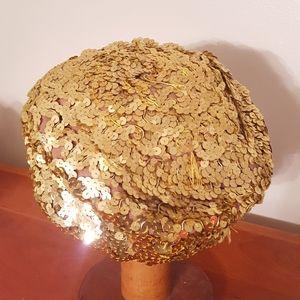 Sequin pillbox hat